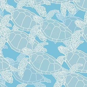 Sea Turtles in Migration (Blue Tones)