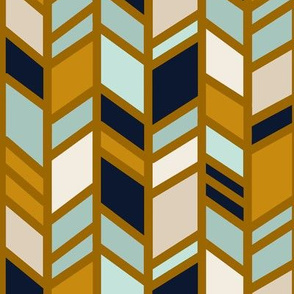 Mosaic Herringbone - Native Desert- navy, mustard, mint, tan, cream