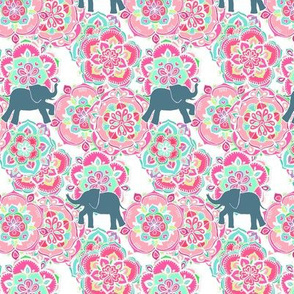 Tiny Elephants in Fields of Flowers