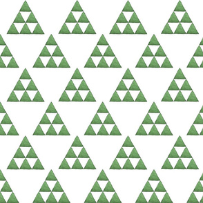 Watercolor Triangles Emerald Green and White