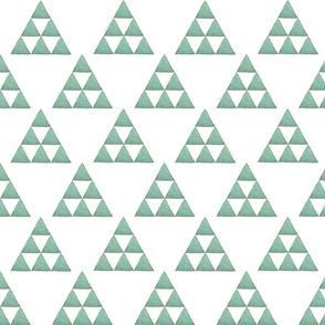 Watercolor Triangles Sage Green and White