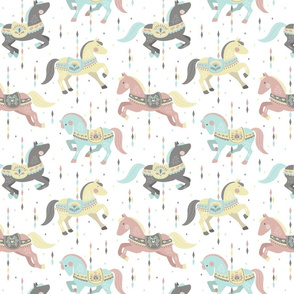 Carousel Horses Small // by petite_circus // mint cream gray white pastel // cute kids baby nursery //