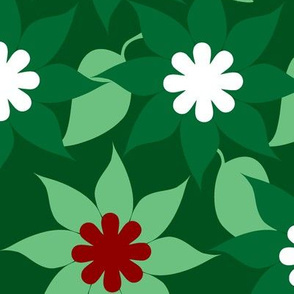 Flowers & Leaves Green Red White
