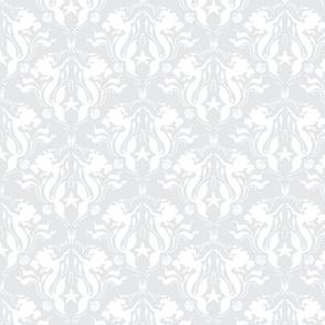 Mermaid Damaskch-pale Grey/White