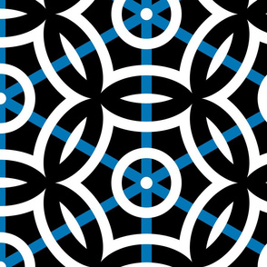 Geometric Circles with Blue Stripe Large