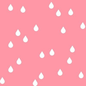 Clouds + Rain - Raindrops White on Coral Pink