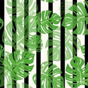 Linocut Leaf Blk Bars