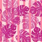 Linocut Leaf Stripes Pink