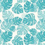 Linocut Leaf blue