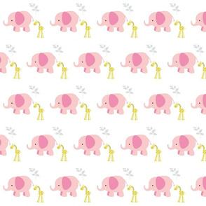 Elephant Giraffe 2 Pink Gray
