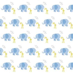 Elephant Giraffe  2 Blue Gray