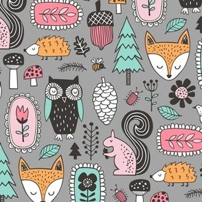 Fall Woodland Forest Doodle with Fox, Owl, Squirrel, Hedgehog,Trees, Mushrooms and Flowers on Grey