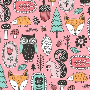 Fall Woodland Forest Doodle with Fox, Owl, Squirrel, Hedgehog,Trees, Mushrooms and Flowers on Pink