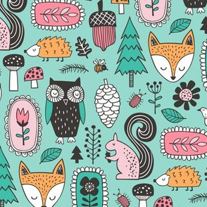 Fall Woodland Forest Doodle with Fox, Owl, Squirrel, Hedgehog,Trees, Mushrooms and Flowers on Mint Green