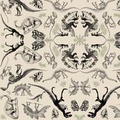 Dinosaur Kaleidoscope Toile on Cream