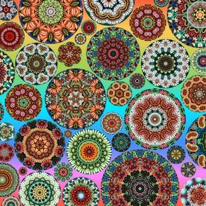 Flower Kaleidoscope Large Design Rainbow Line