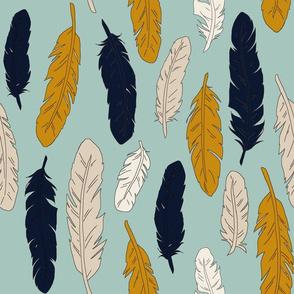 Falling Feathers - navy, mustard, mint, tan