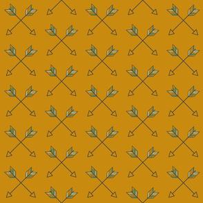 Crossed Arrows - mustard gold, mint