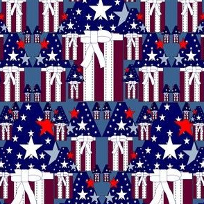 Americana, Patriotic, 4th of July, Red, White & Blue Birdhouses and Stars Fabric #5
