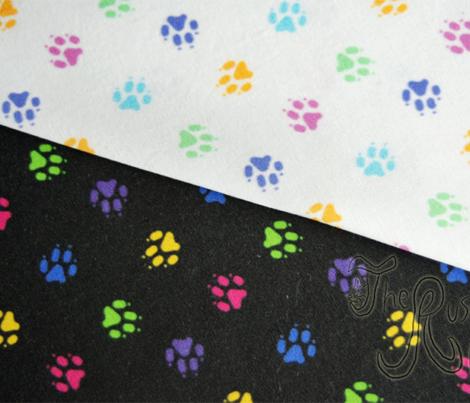 Trotting paw prints - bright confetti