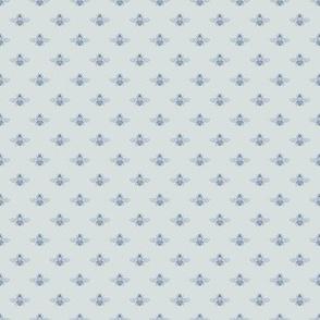 Little Bee in Blue on Seafog Grey, Mini