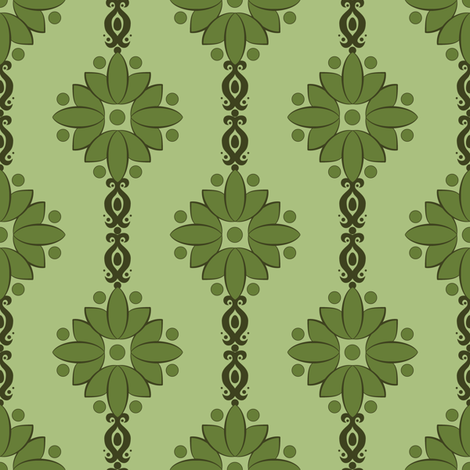 Victorian flower green fabric rastea spoonflower for Victorian floral fabric