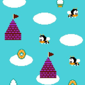 Pixel rainbow island, 80s video game