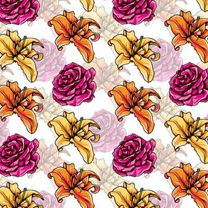 Day Lilies and Roses with background
