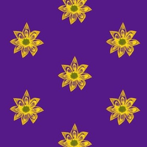 Golden Star Flowers on Purple - Medium Scale
