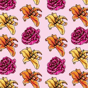 lily_rose_pattern_pink_background_lily_and_rose