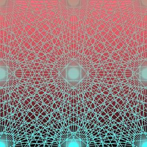 Geometric Lines Black Aqua Pink