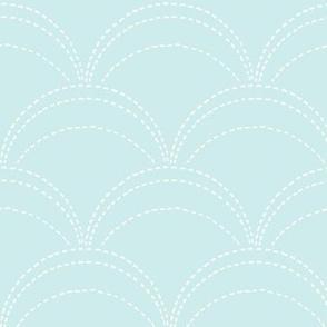large wave stitch pale blue