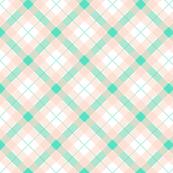 Plaid_Diagonal_Soft Peach and Teal