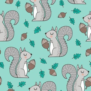 Forest Squirrel Squirrels with Leaves &  Acorn Autumn Fall on Mint Green