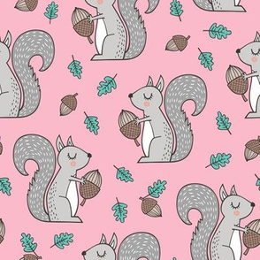 Forest Squirrel Squirrels with Leaves &  Acorn Autumn Fall on Pink