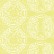 Dancing dervish circles, white on lively yellow