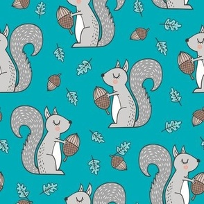 Forest Squirrel Squirrels with Leaves &  Acorn Autumn Fall on Blue