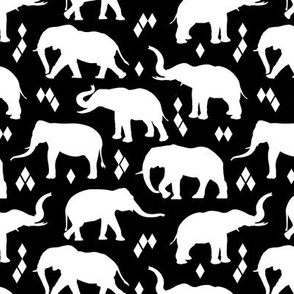 Geo Elephants II - Black