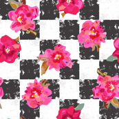 Black & White Squares with Pink Flowers