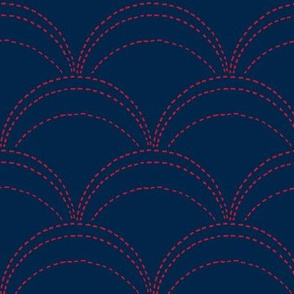 large wave stitch navy blue and red