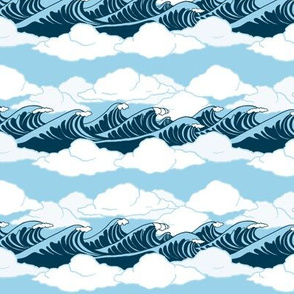 Wind, Waves and Clouds on a Blue Sky