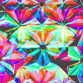 crystals in light neon