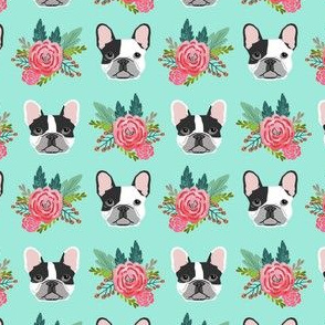 French Bulldog cute head flowers florals girls sweet baby nursery dogs