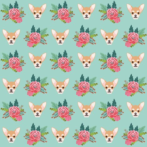 Chihuhua floral flowers flower cute dog baby girl nursery for Floral nursery fabric