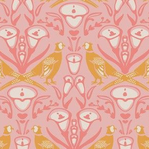 Damask pheasants in pink