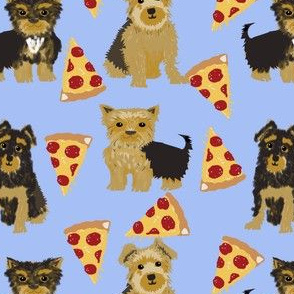 Yorkie pizza, yorkshire terriers pizza funny cute dog novelty food print for yorkie owners best dog fabrics for home dec