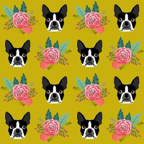 boston terrier florals cute dog face flowers dogs