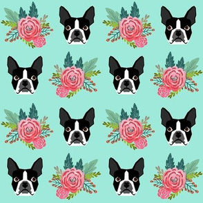 boston terrier floral mint cute dogs best fabric for dog owners