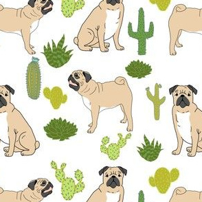 pugs cactus dog cute pet dogs pugs cacti sweet white nursery baby kids design for pug owners