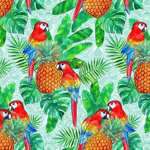 Pineapples and Parrots Tropical Summer Pattern small version